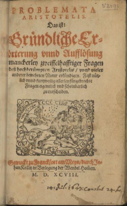 Della fama di Marcantonio Zimara e della fortuna editoriale dei suoi Problemata.