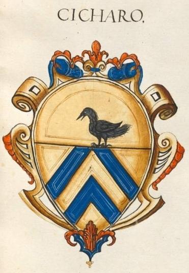 Fig. 7 - Bayerische Staatsbibliothek (Biblioteca Nazionale Bavarese), BSB Cod.icon. 279 (1550-55), fol. 40r. Arma della famiglia Cicara: «d'oro, a due scaglioni d'azzurro, quello superiore troncato; al capo cucito del primo, caricato di un uccello di nero, posato sulla partizione»