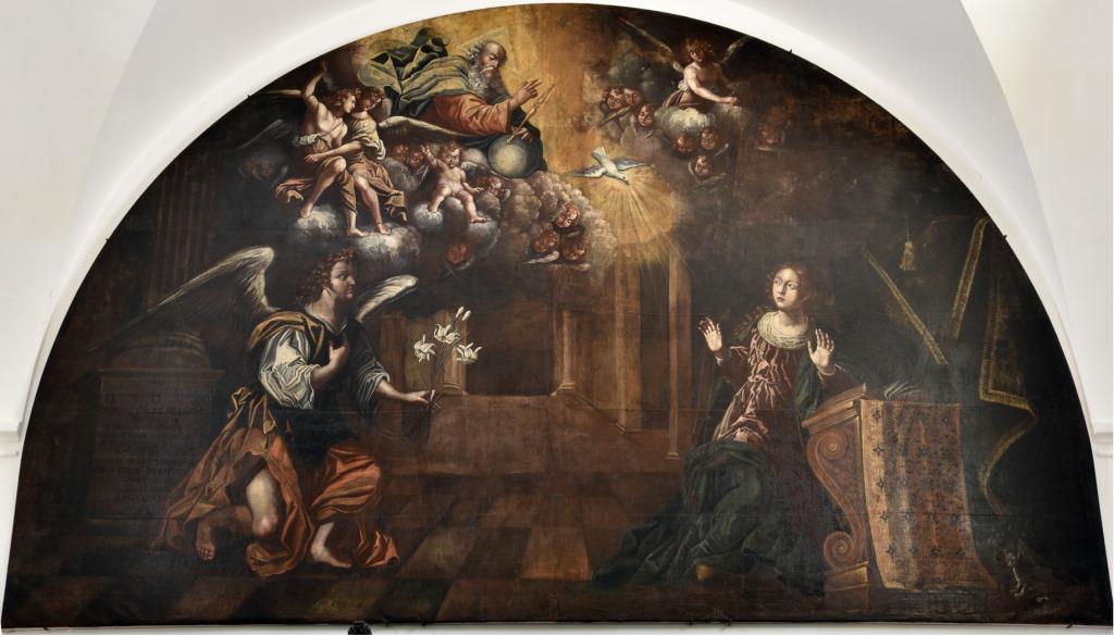La grande tela dell'Annunciazione della collegiata di Grottaglie