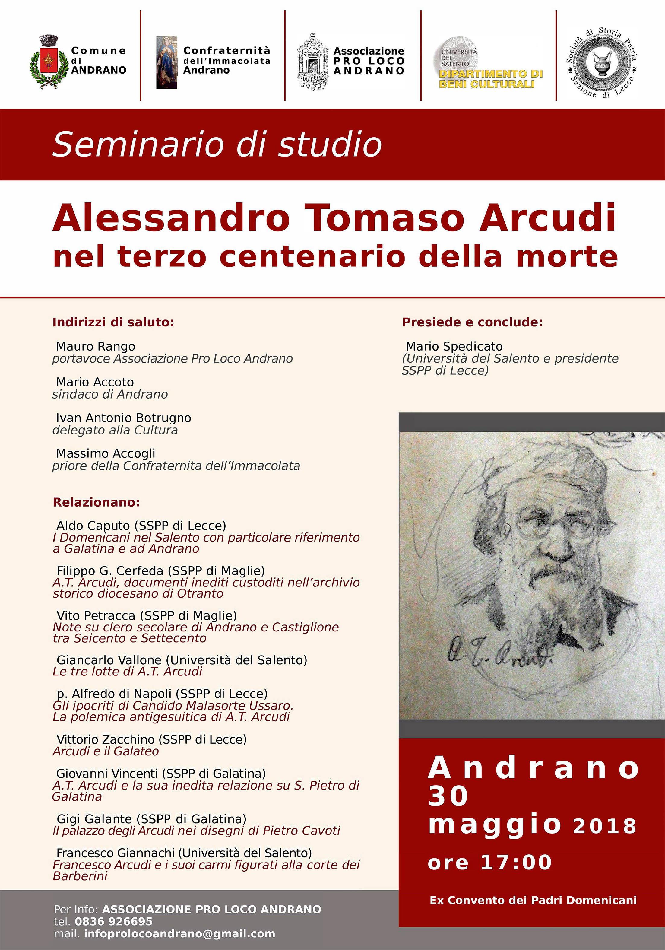 Alessandro Tommaso Arcudi nel terzo centenario della morte
