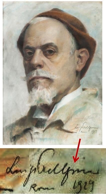 Lo scultore Eugenio Maccagnani in un ritratto di Luigi Pellegrino