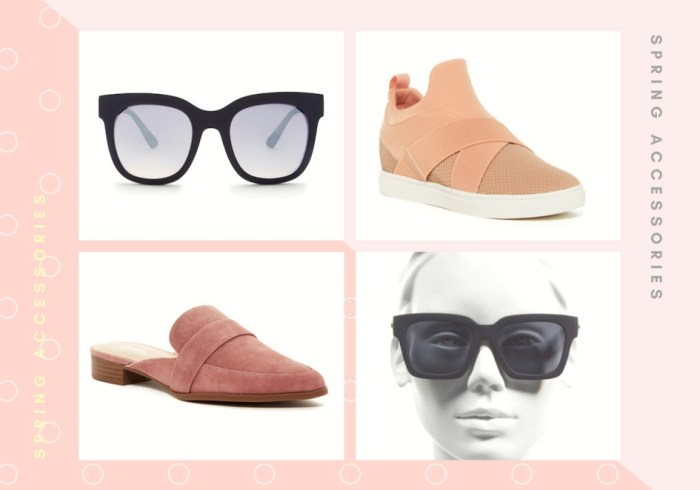 Spring Accessories Steve Madden sneakers Charles David mules Quay Australia Le Specs Sunglasses