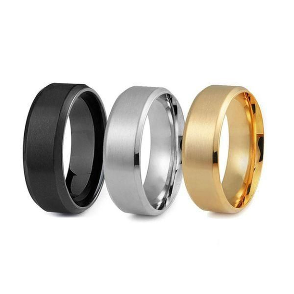 Men's Stainless Steel Comfort Fit Wedding Band Ring Set (3-Piece) - 12