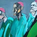 Trois cardinaux en vert, Serge Labégorre 2020, format 70, 140x100 cm Détail at#02