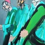 Trois cardinaux en vert, Serge Labégorre 2020, format 70, 140x100 cm at#04