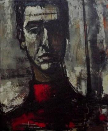 Auto-portrait rouge_Labégorre 1956_58x74 cm, huile sur toile