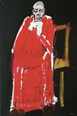 Cardinal au fauteuil jaune, Serge Labégorre 2011 _ 195x130 cm acrylique sur toile