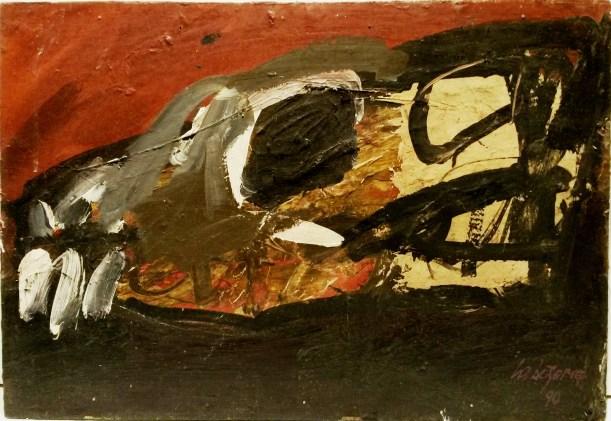 Crâne, Labegorre 1990_38x55 cm 10 P acrylique sur bois
