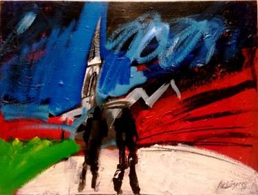 Deux hommes en noir, Serge Labégorre 2010_46x61 cm 12 P acrylique sur toile