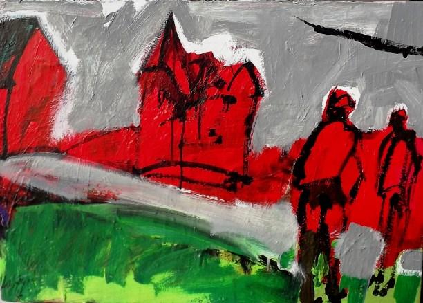 Deux paysans à Baraqueville_Labégorre 2016_70x50 cm 20F acrylique sur toile