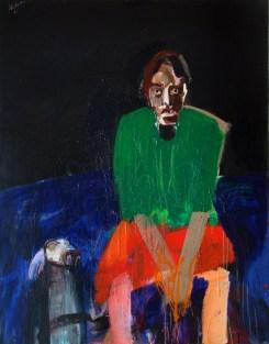 Femme au chien, Serge Labégorre 2007 - 146x114 cm 80 F acryl sur toile