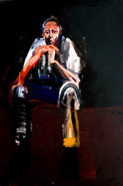 Homme assis à la chemise blanche, Serge Labegorre 2009_195x130 cm 120F Acrylique sur toile