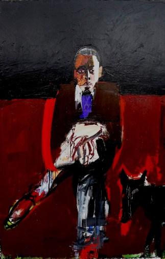 Homme au chien, Serge Labégorre 2005 _ 195x130 cm 120F acrylique sur toile
