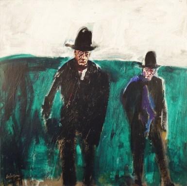Le grand temoin num 2 Biarritz la Barre,Serge Labegorre 2014_100x100 cm Acrylique sur toile