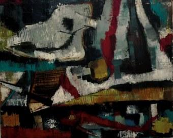 Nature morte au crâne, Serge Labégorre 1950 _ 81x100 cm Huile sur toile
