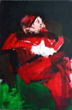 Pape rouge à la bonette, Serge Labégorre 2002_195x130 cm 120F acrylique sur toile