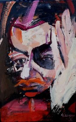 Portrait Daniele Gonthier_ Serge Labegorre 2003_6P_41x27 cm acrylique sur toile