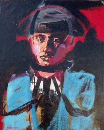 Portrait en habit bleu, Labégorre 1996 , 65x54 cm 15 Figure Acrylique sur toile