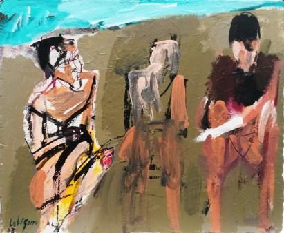 Trois baigneurs à Seignosse été 2013, Serge Labégorre 2013 _ 54x65 cm 15F acrylique sur toile