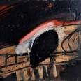 Crâne rouge et noir, Serge Labégorre 2007, 74x100 cm, 40P ab#01