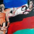 Femme étendue à l'homme assis, Serge Labégorre 2018, 100 x 140 cm Am 70 at #02