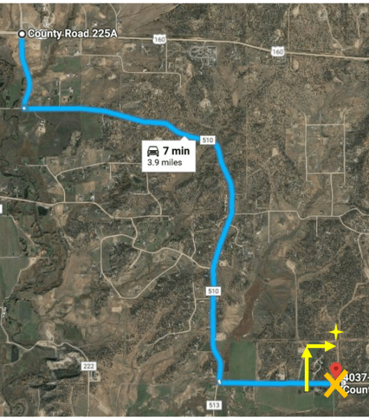 Map of directions to site from the turn off at Hwy 160 and County Road 225A.