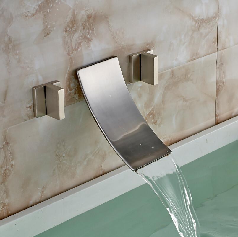 morelia double handled brushed nickel wall mount bathtub faucet