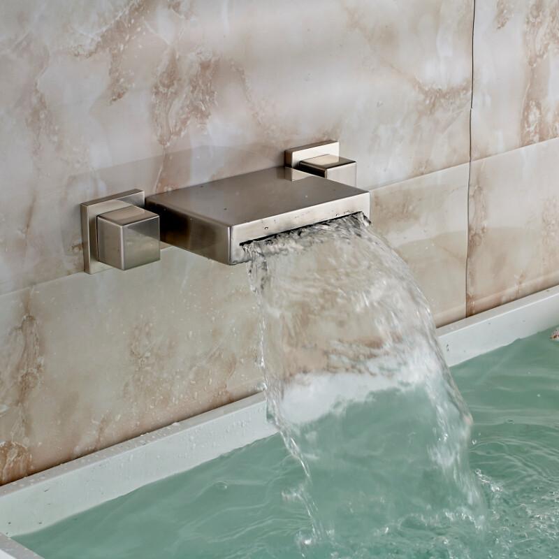 sacramento brushed nickel wall mount double handle bathtub faucet