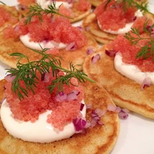 Blini with lumpfish roe