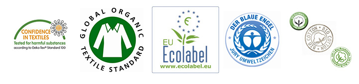 Here are the 5 cachets as named: Oeco-Tex, GOTS, EU-Ecolabel, Blauer Engel and Organic Cotton Seal