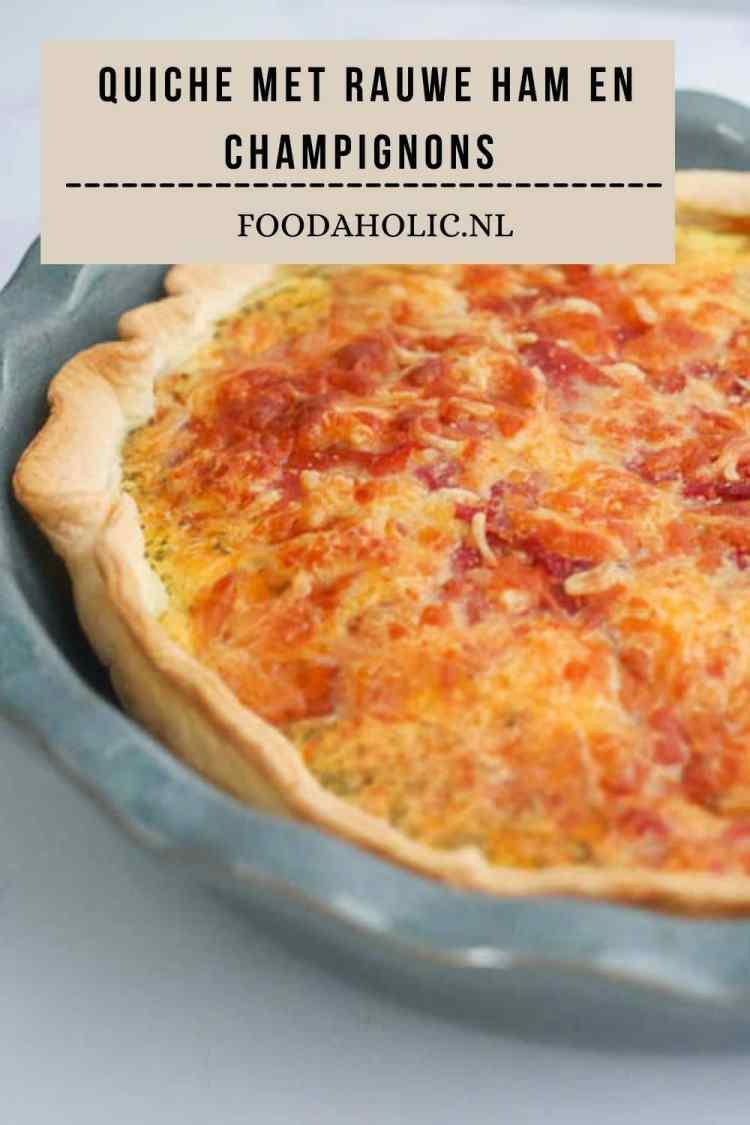 Quiche met serranoham, ui, champignons en mozzarella