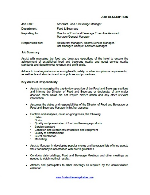 Food And Beverage Director Job Description  Food