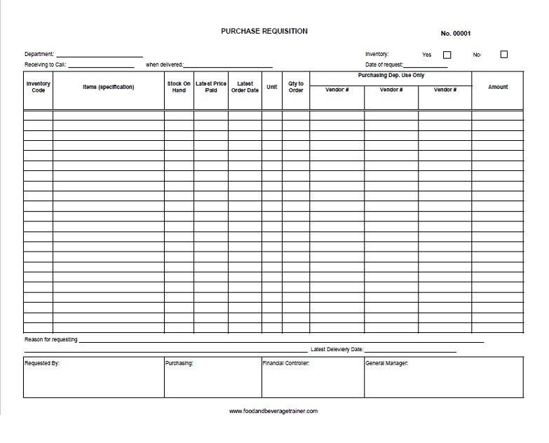 Purchase Request Form Food And Beverage Trainer