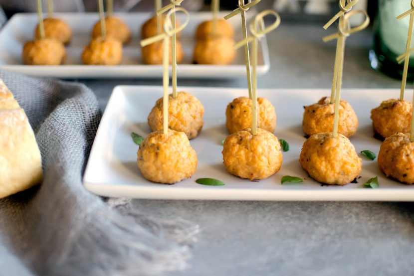 Zesty Chicken Meatballs And Basil Tzatziki Food And Flair