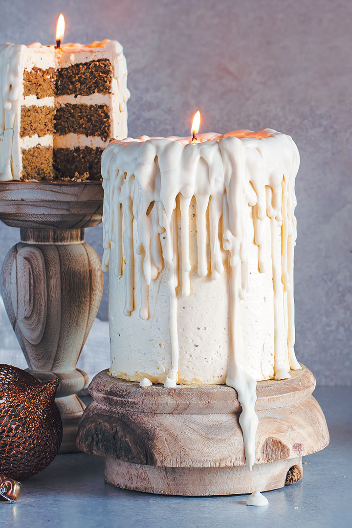 Dripping White Chocolate Candle Cakes With Eggnog Sponge