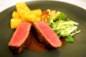 Beef fillet with triple cooked chips, watercress, lemon roasted cauliflower