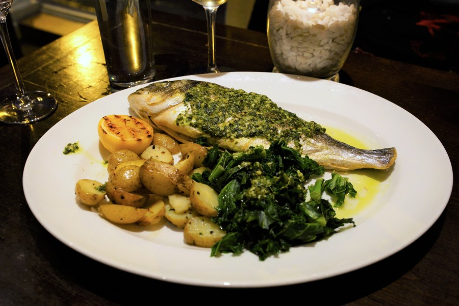 Whole Roasted Gilt-Head Bream with Salsa Verde, Curly Kale