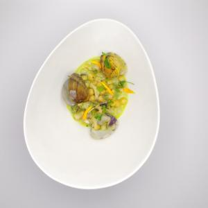 Chickpeas, clams, cod tripe, lemon oil and sorrel leaves