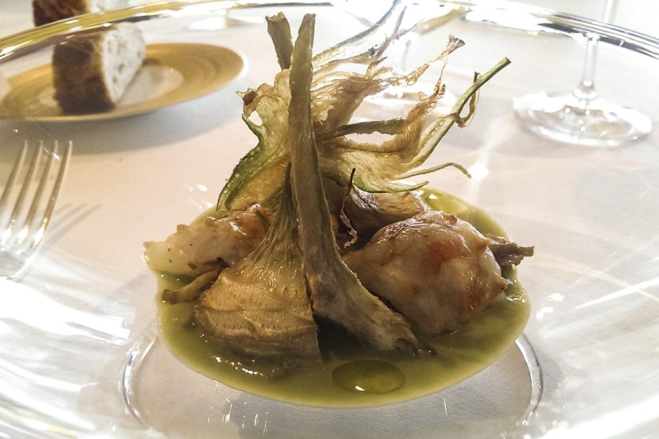 Sant Pau King prawn and artichoke 3 ways
