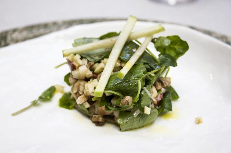 Tragaluz chatka crabmeat, watercress, apple and mushroom salad