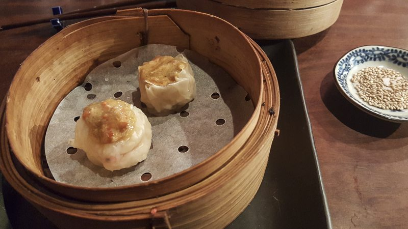 Red king crab shumai Dos Palillos