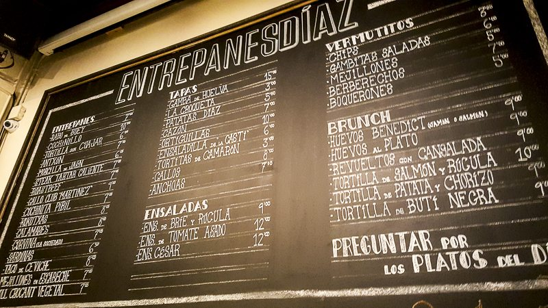 Entrepanes Díaz menu