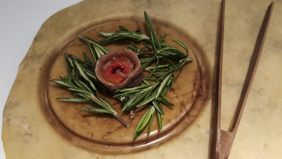 Rosemary-smoked anchovy with roasted red pepper Cinc Sentits