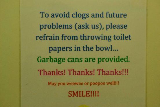 Rego's Pasta Express - Bathroom Reminders