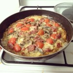 Egg mushroom and tomato casserole with french salami and cheese recipe