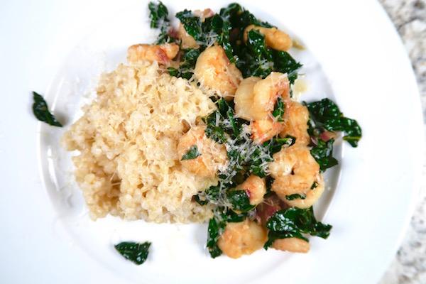 Lemon Teriyaki Shrimp with Kale over Brown Rice