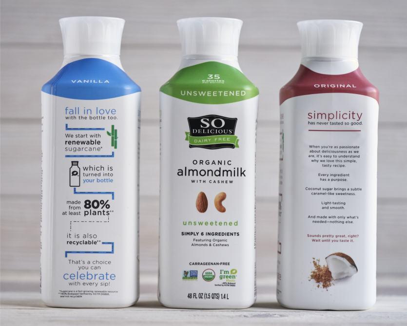 Danone So Delicious Dairy Free bioplastic bottles