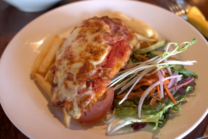 A chicken parmigiana photographed at the Coldstream Brewery.