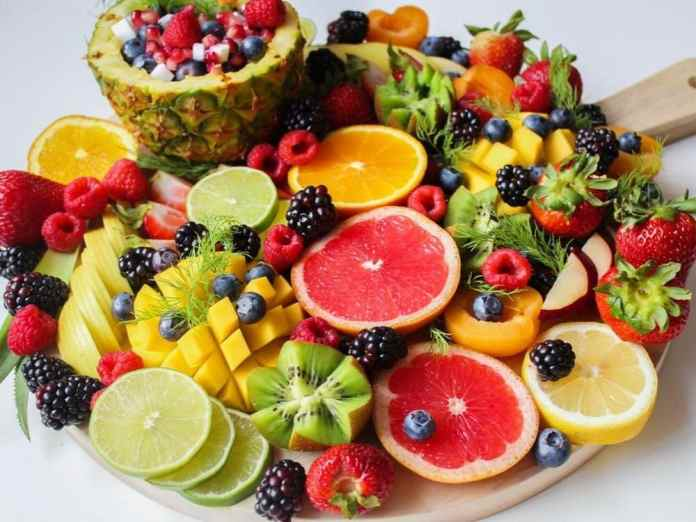 Fruit such as bananas, apples, and berries