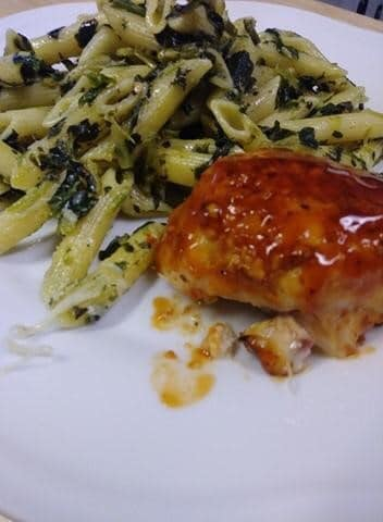 Barbecue chicken and penne pasta